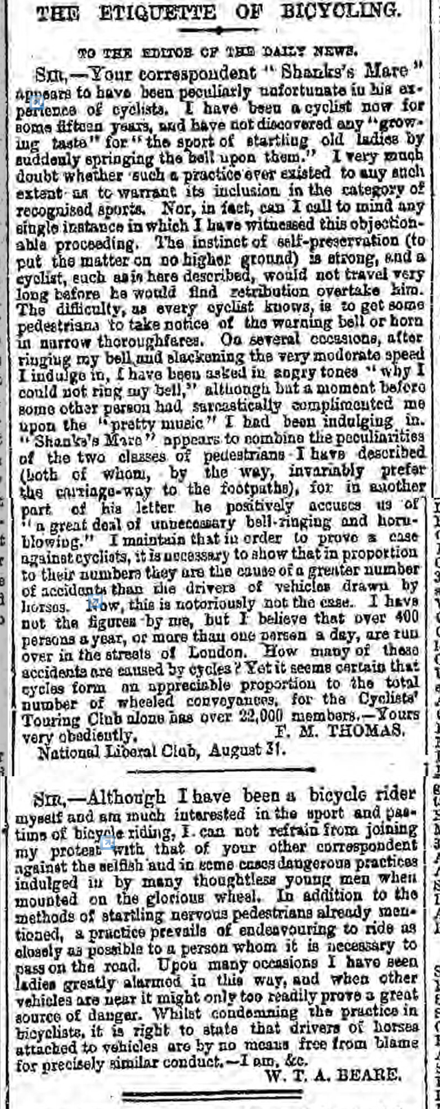 newspaper report on bicycle etiquette during the victorian age
