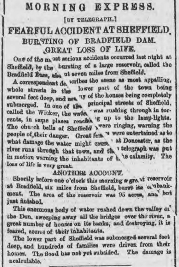 newspaper report on the Sheffield flood