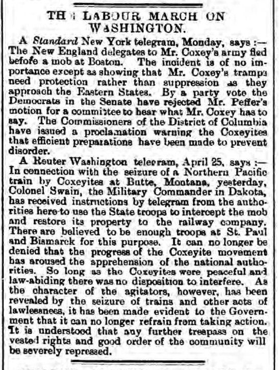 newspaper report about coxeys army