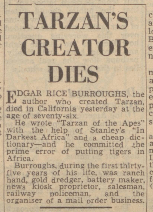 newspaper report on Death of Edgar Rice Burroughs