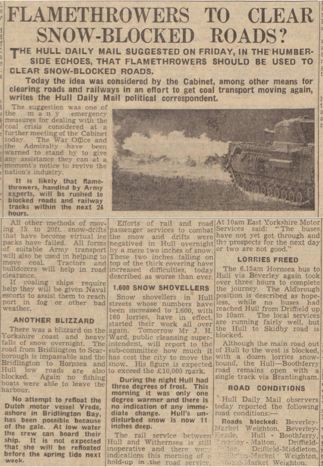newspaper report on flame throwers in the winter of 1946 and 1947