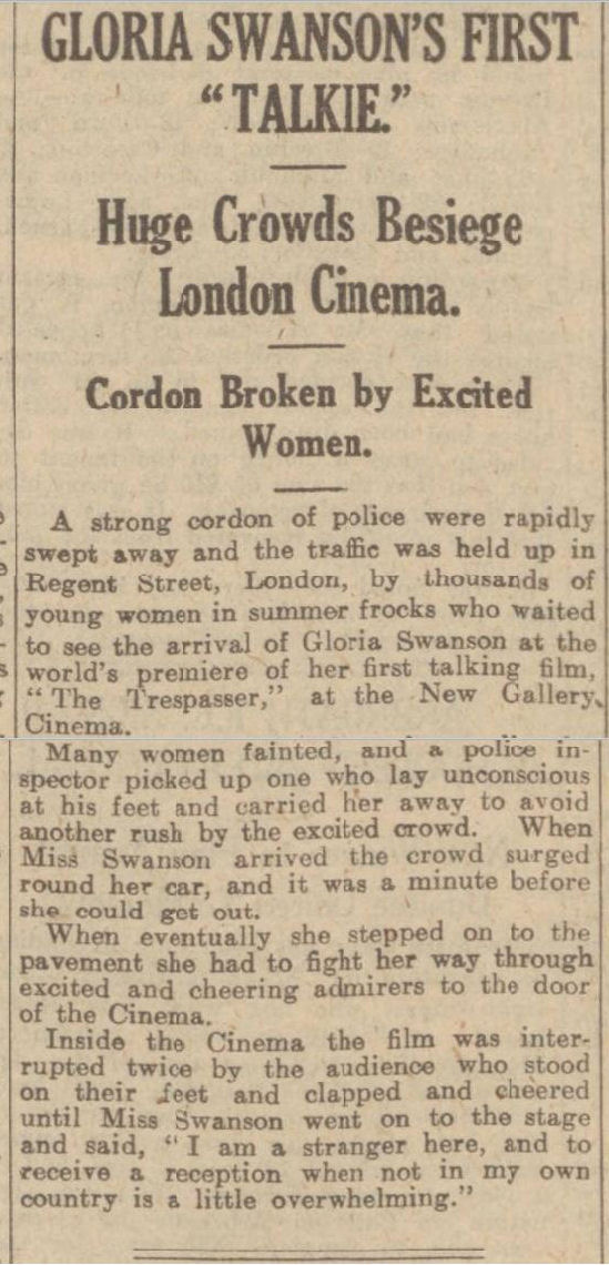 newspaper report about gloria swanson