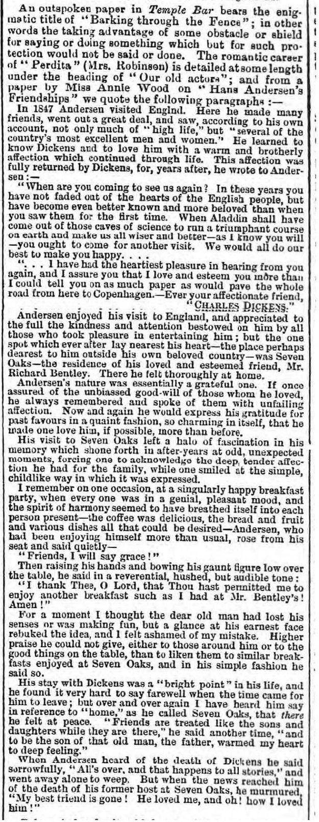 historical newspaper report about hans christian andersen