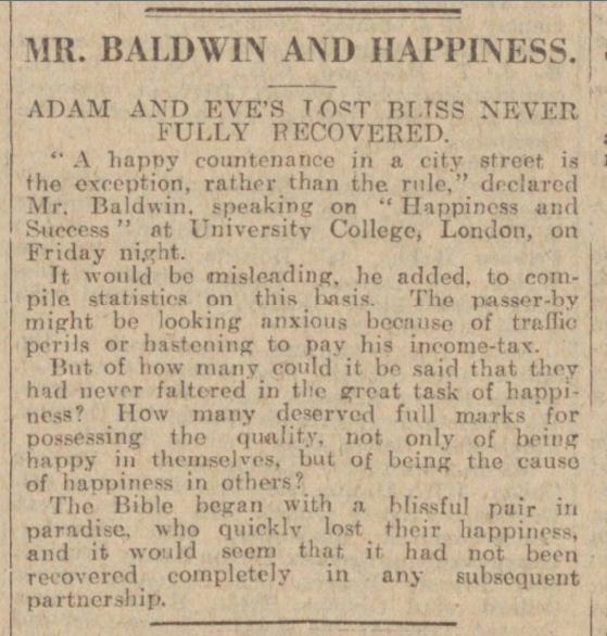 newspaper reports on happiness