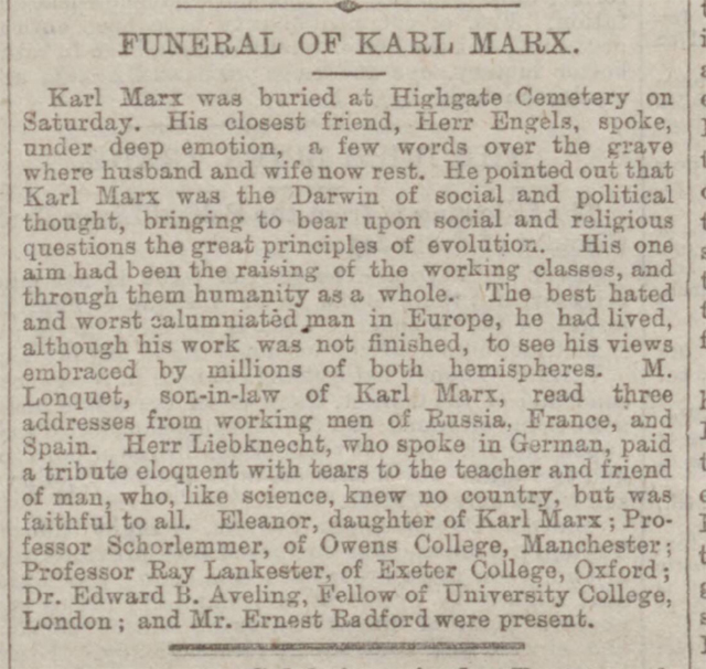 newspaper report about the death of karl marx