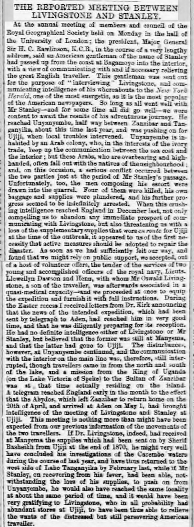 newspaper report about david livingstone and stanley