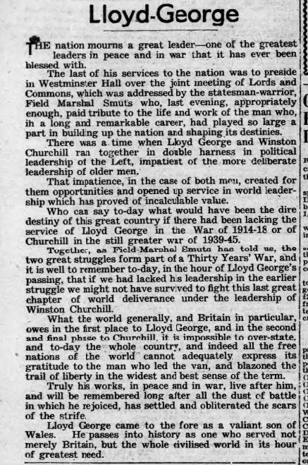 newspaper report about the death of david lloyd george