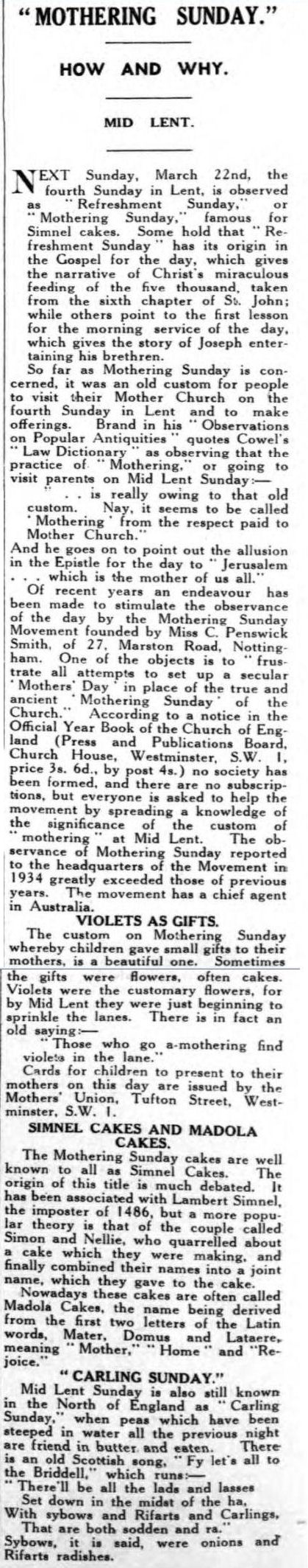 newspaper report on mothering sunday