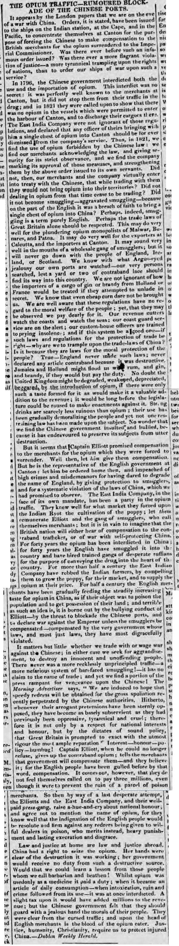 newspaper report about the opium  war between china and britain