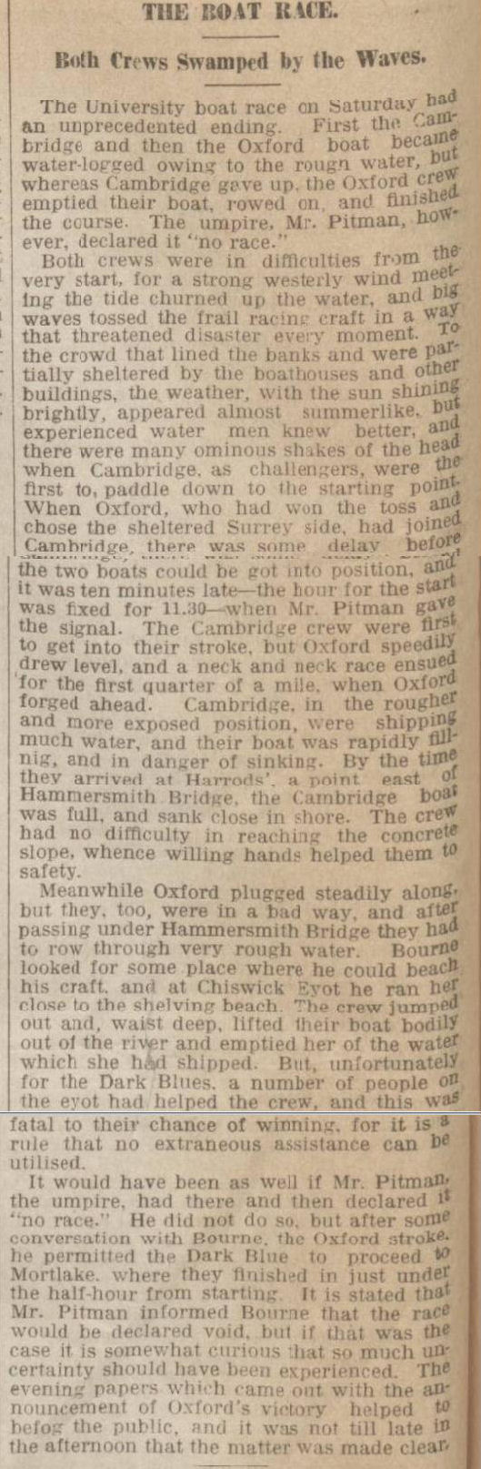 historical newspaper report about the 1912 oxford and cambridge boat race