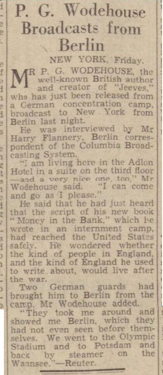 newspaper report about pg wodehouse