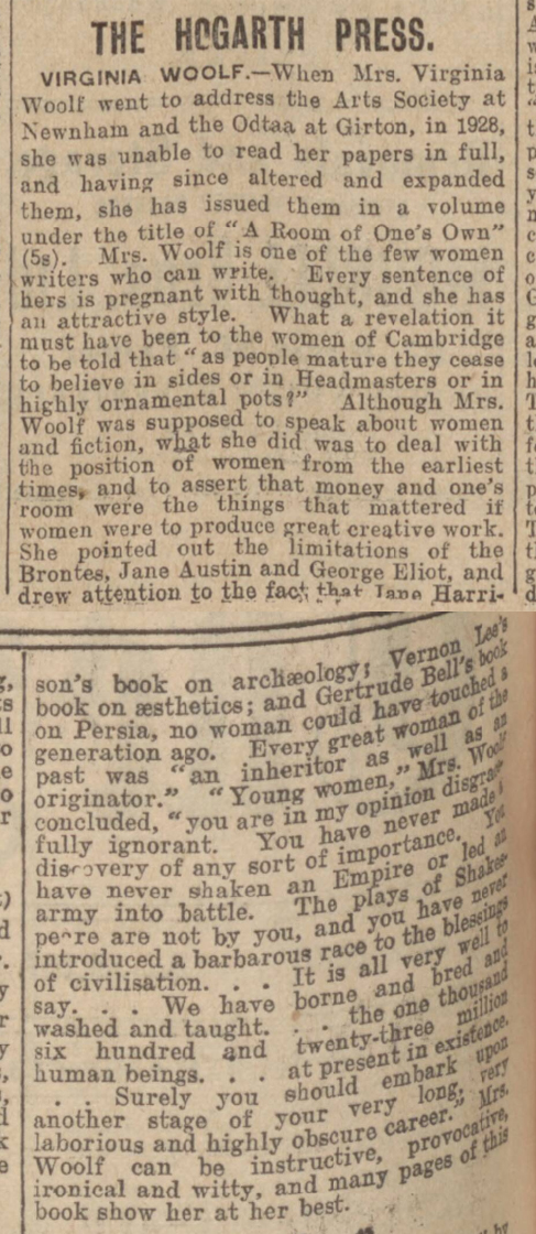 newspaper review from 1929 of a room of one's own