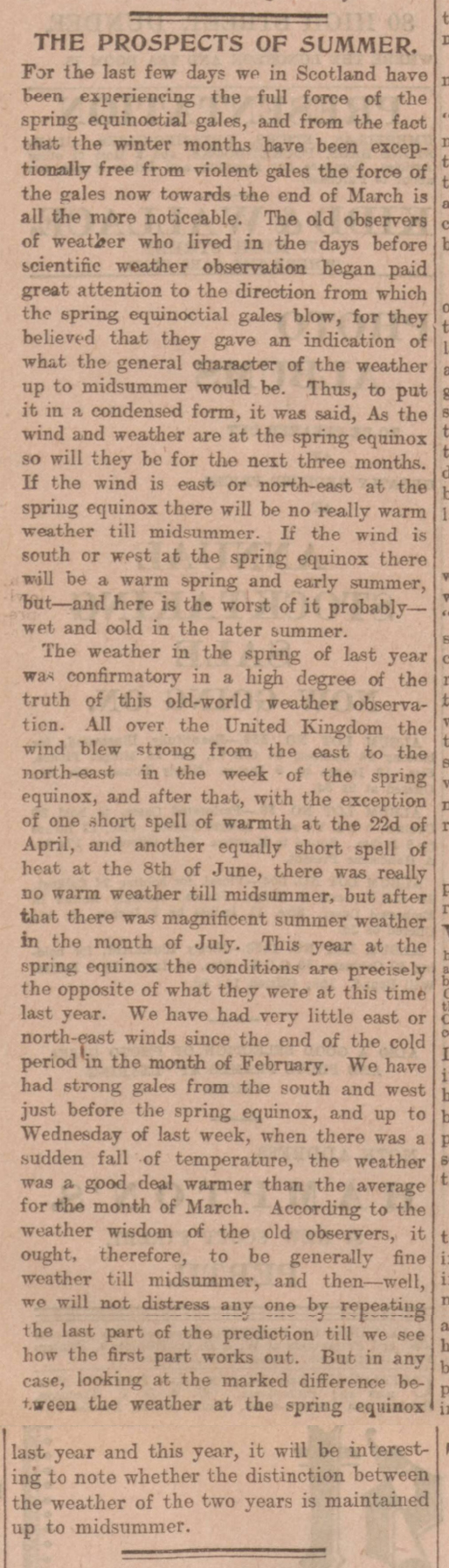 newspaper report on the spring equinox
