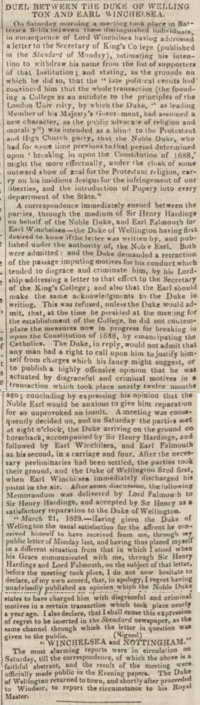 Newspaper article on duel between Duke of Wellington and Lord Winchilsea, London