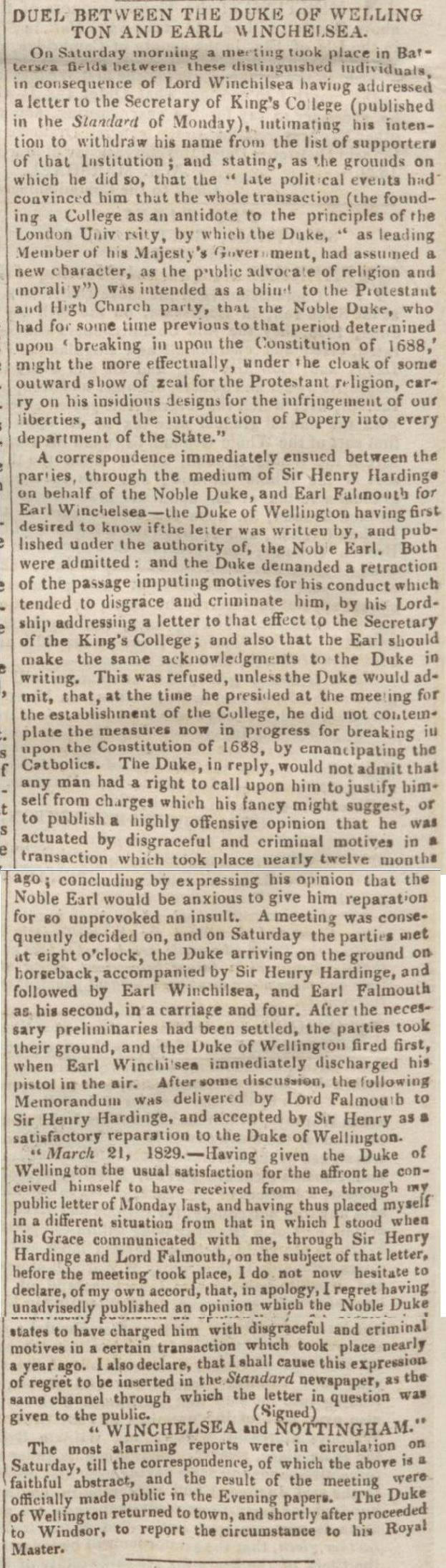 newspaper report about the duel between the duke of wellington and earl of winchelsea