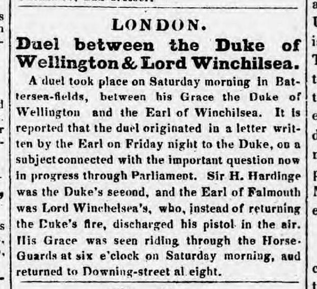 Newspaper article covering the duel between Duke of Wellington and Lord Winchilsea, London