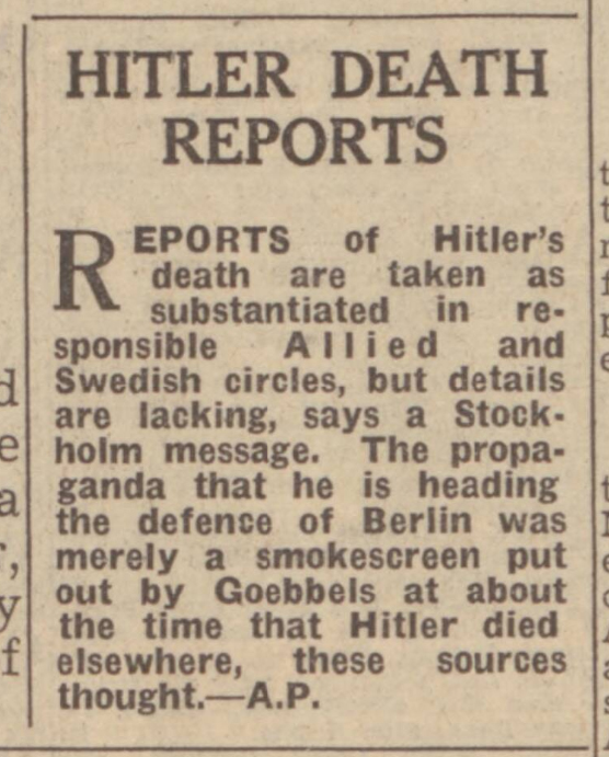 historical newspaper story about the death of adolf hitler