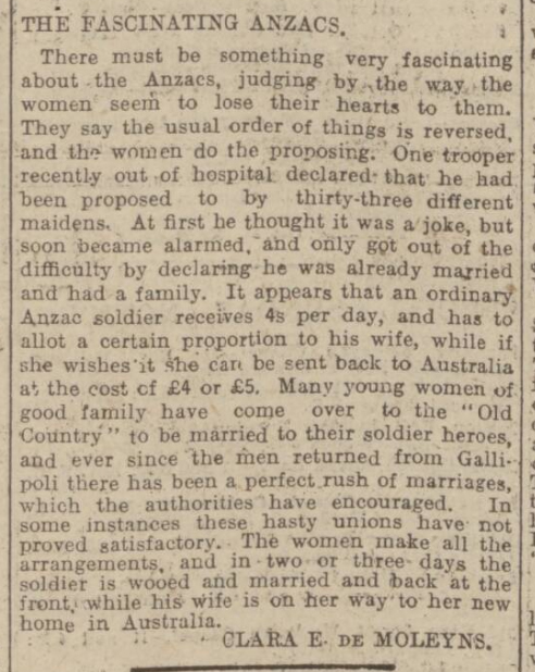historical newspaper story about ANZAC day