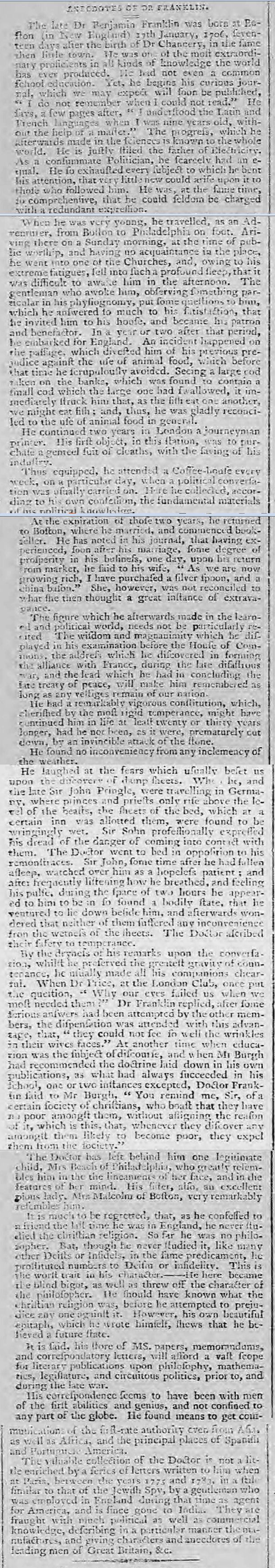 historical newspaper story about The Death of Benjamin Franklin