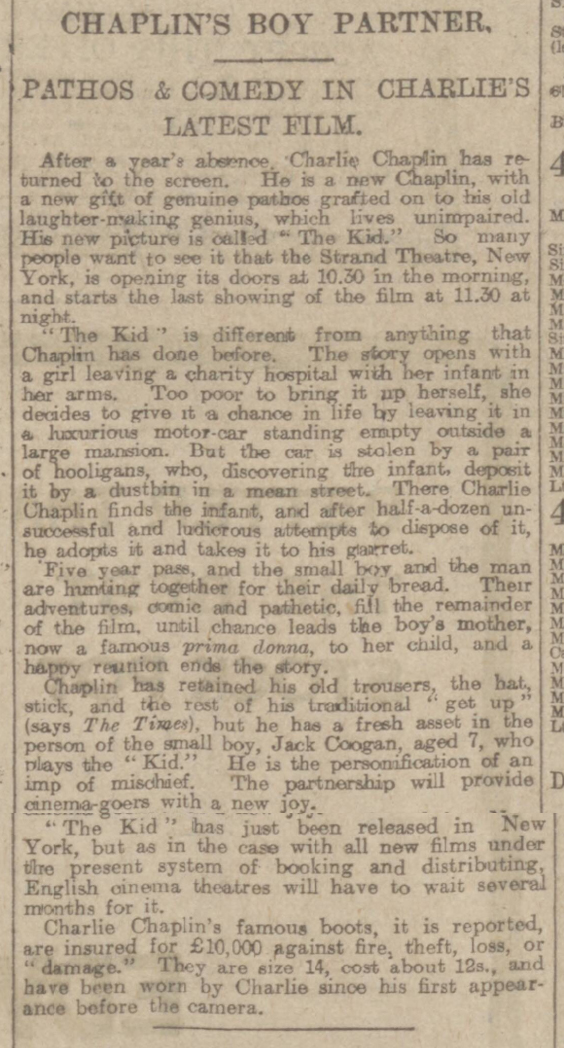 historical newspaper story about charlie chaplin