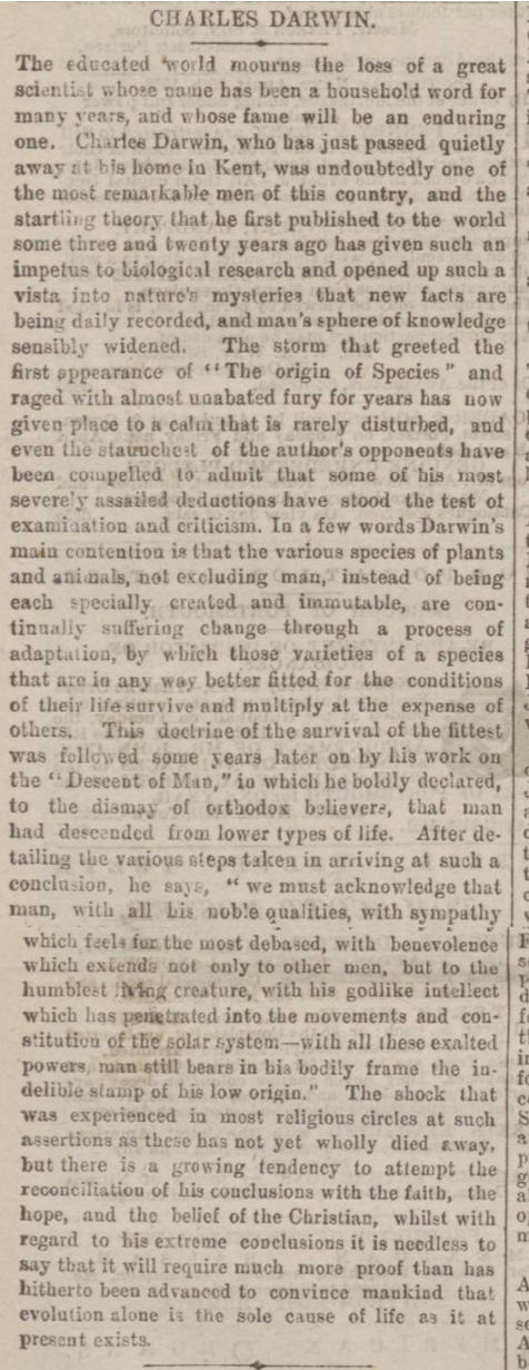 historical newspaper story about The Death of Charles Darwin