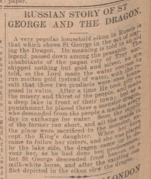 historical newspaper story about st george and the dragon