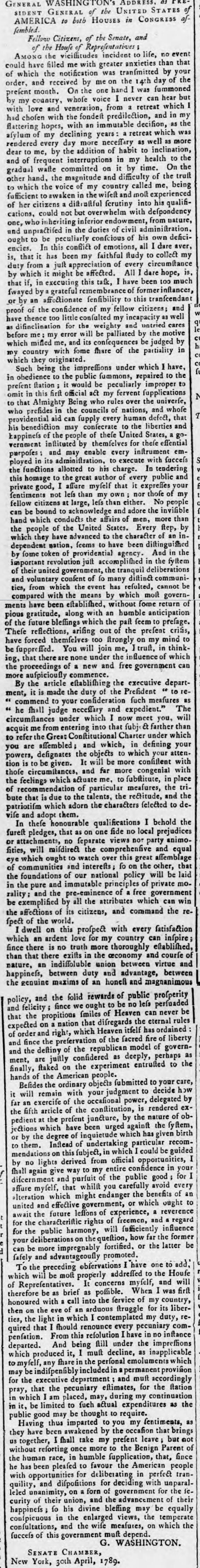 historical newspaper story about the inauguration of george washington