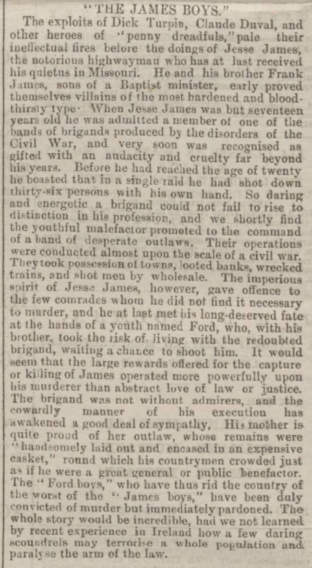 historical newspaper report about the killing of jesse james