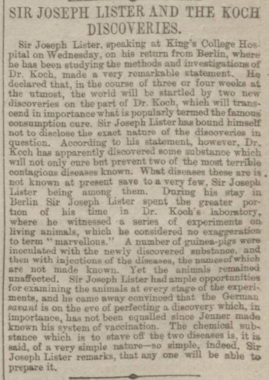 historical newspaper report about sir jospeh lister