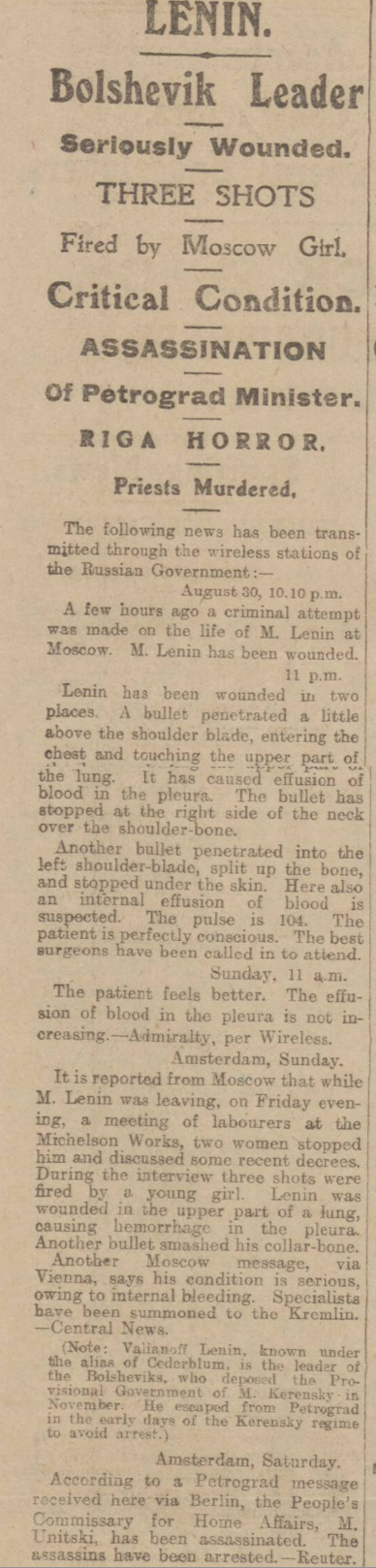 historical newspaper story about an attempt to assassinate lenin