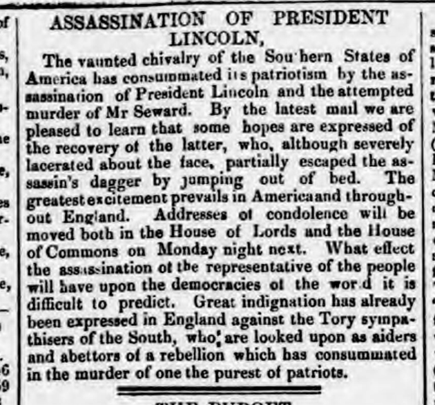 historical newspaper story about The Assassination of President Lincoln