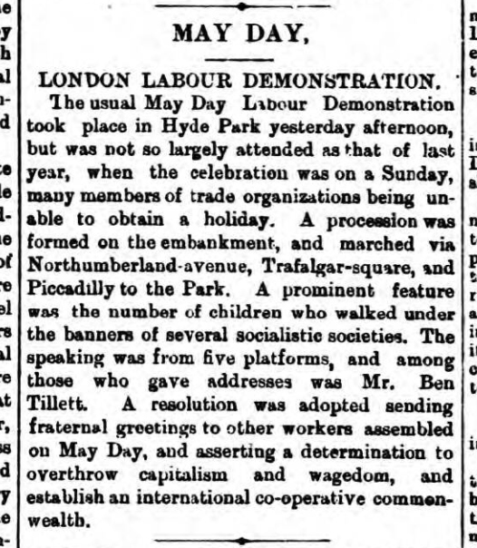 historical newspaper story about mayday gatherings
