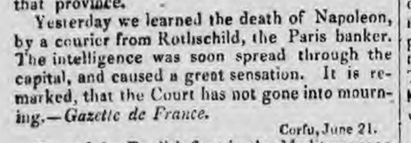 historical newspaper story about the deathj of napoleon