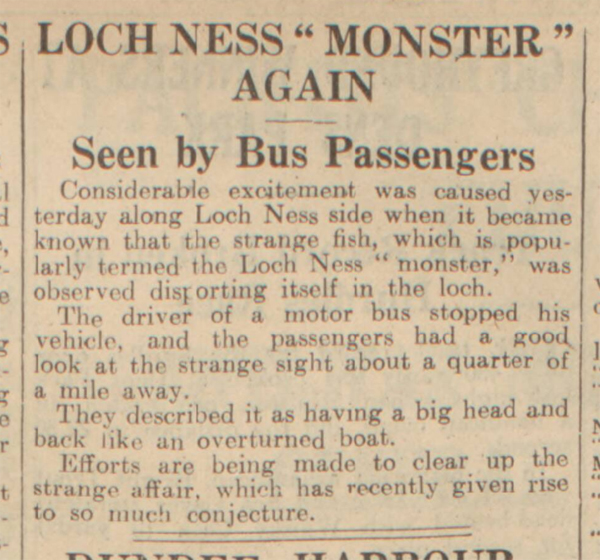 historical newspaper story about The loch ness monster