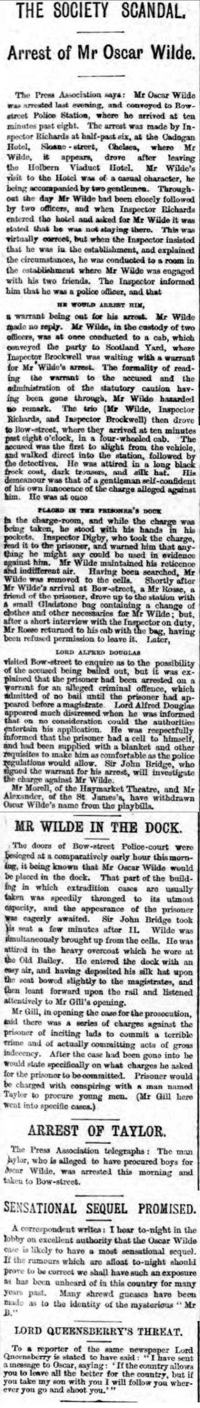 historical newspaper report about the arrest of oscar wilde at the cadogan hotel
