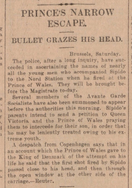 historical newspaper report about the attempt to kill prince edward