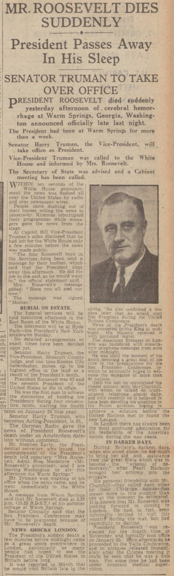 historical newspaper story about ther death of franklin d roosevelt