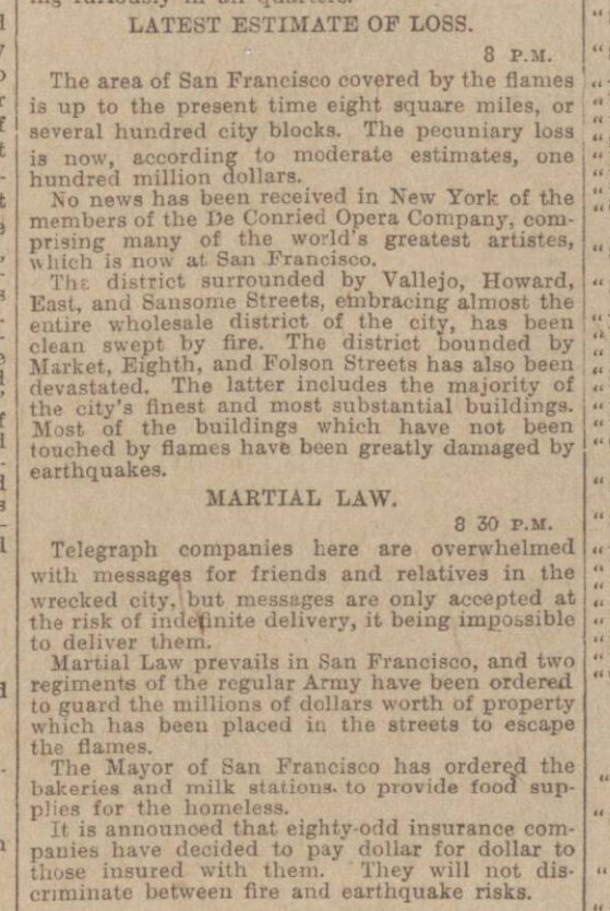 historical newspaper story about The San Francisco Earthquake