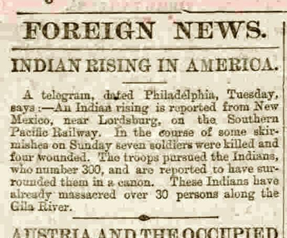 historical newspaper story about north american indians