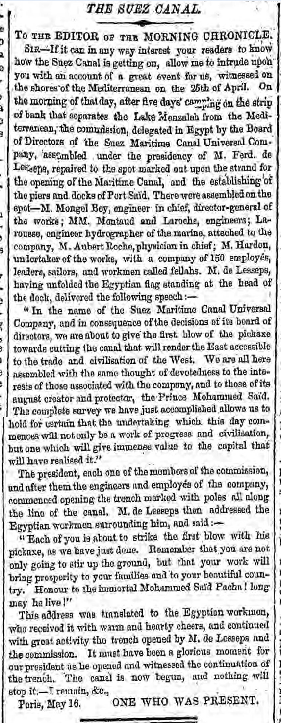 historical newspaper story about the building of the suez canal
