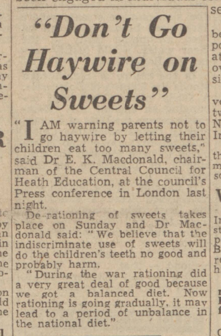 historical newspaper story about the rationing of sweets