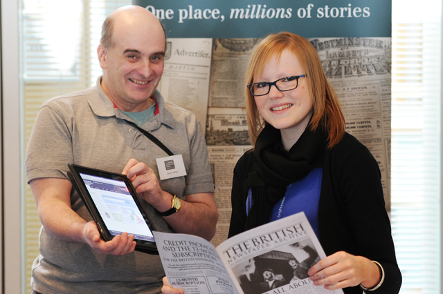 two bna team members at the tayroots family history fair dundee in 2013