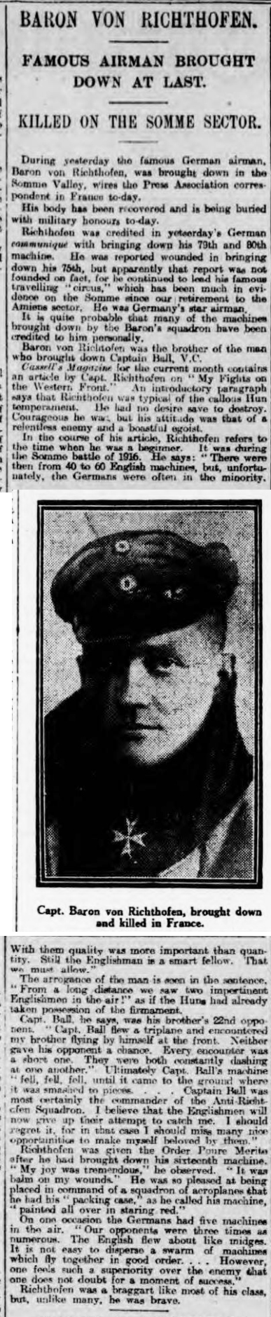 historical newspaper story about The Death of the red baron