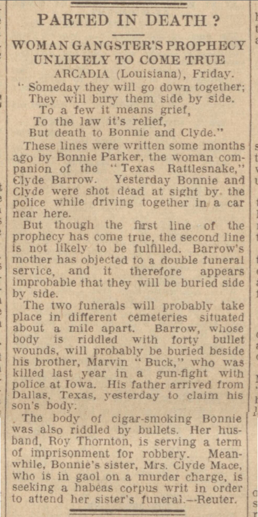historical newspaper story about bonnie and clyde
