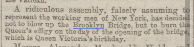 historical newspaper story about the opening of brooklyn bridge