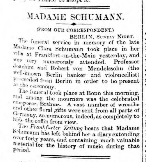 historical newspaper story about clara schumann