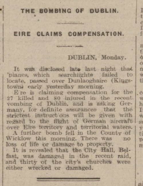 historical newspaper story about the nazi bombing of dublin in 1941
