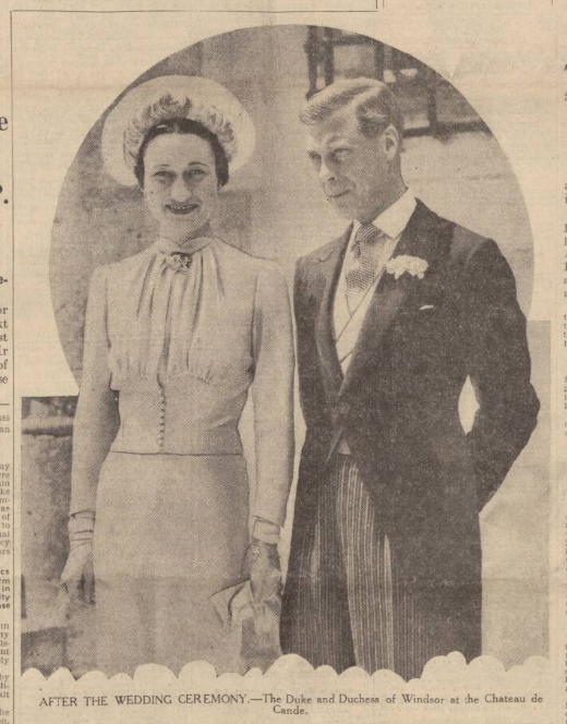 historical newspaper report on The Marriage of the Duke and Duchess of Windsor