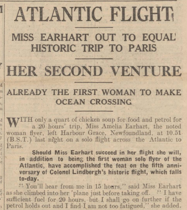 historical newspaper story about amelia earhart flying across the atlantic