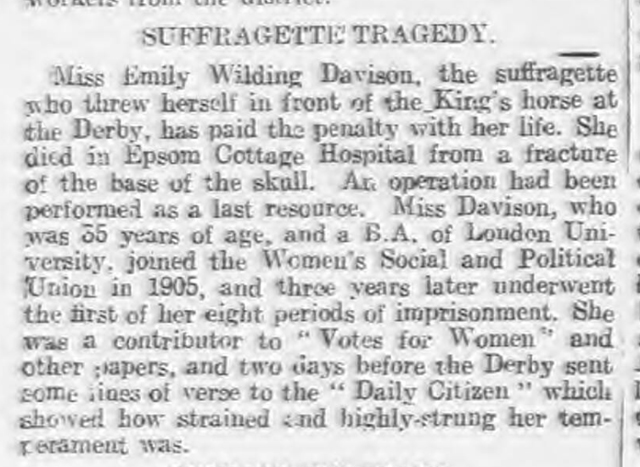 historical newspaper report about Miss Emily Wilding Davison